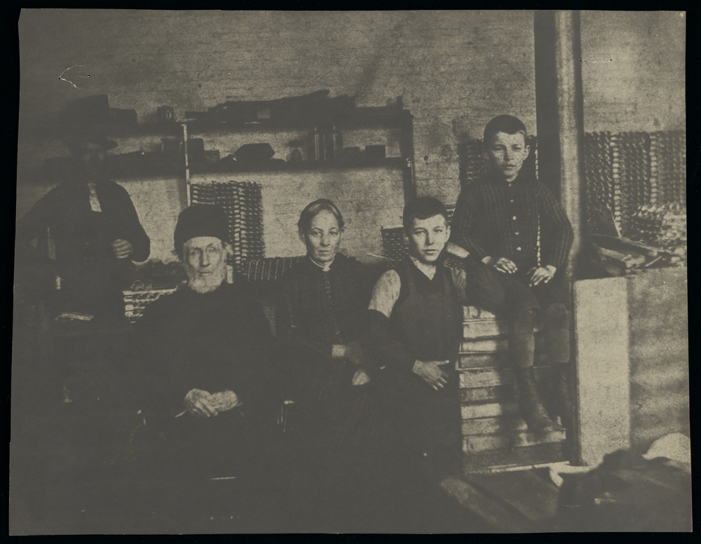 Employees of the Taylor Thermometer Works (George Sorg, William Busby, Elizabeth Patton, John Heberger, Ed Heberger), Rochester, New York, 1887.