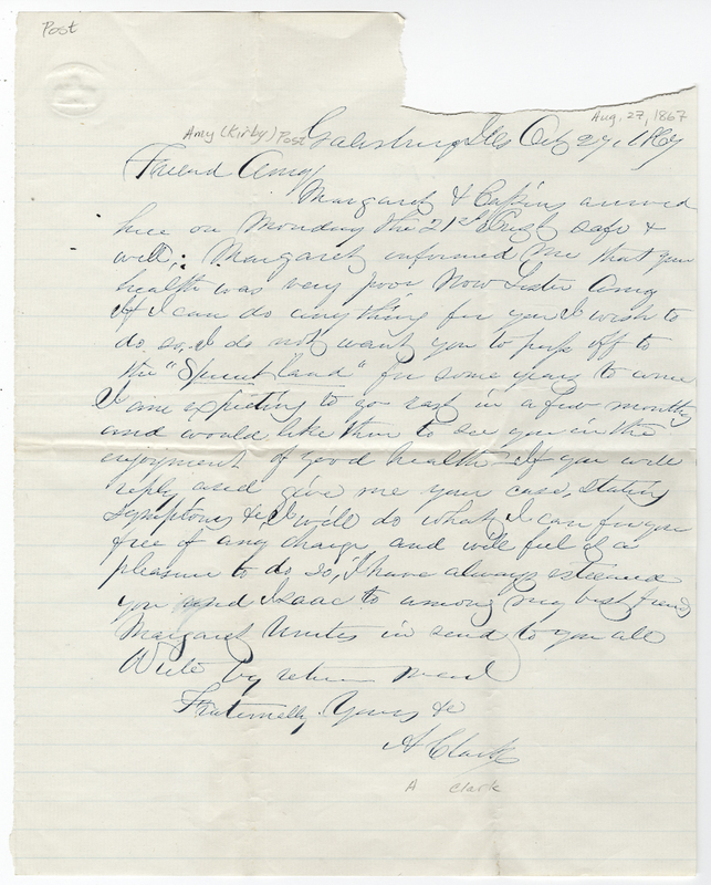 Clark, A. Letter to Amy Kirby Post.