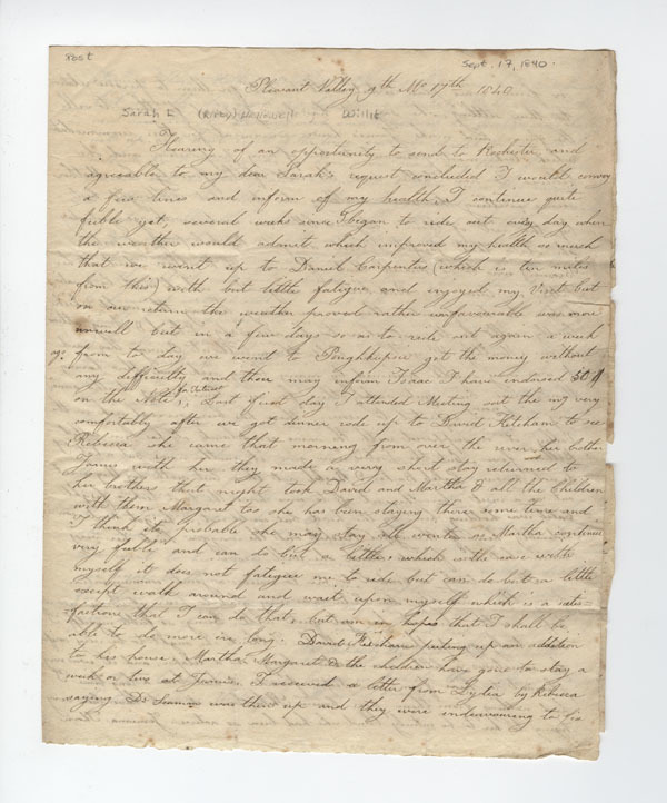 Carpenter, Phebe K. Letter to Sarah L Kirby Hallowell Willis.