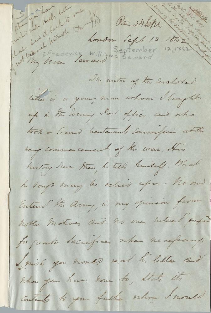 Letter from John Bigelow to Frederick William Seward, September 12, 1862