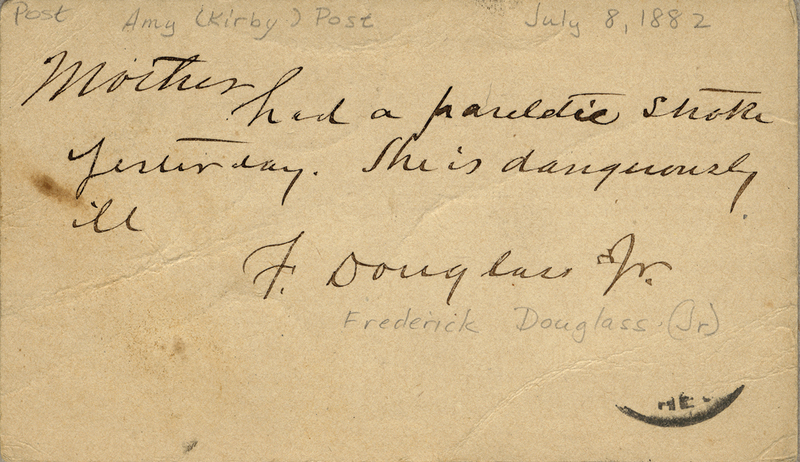 Douglass Jr., Frederick. Letter to Amy Kirby Post.