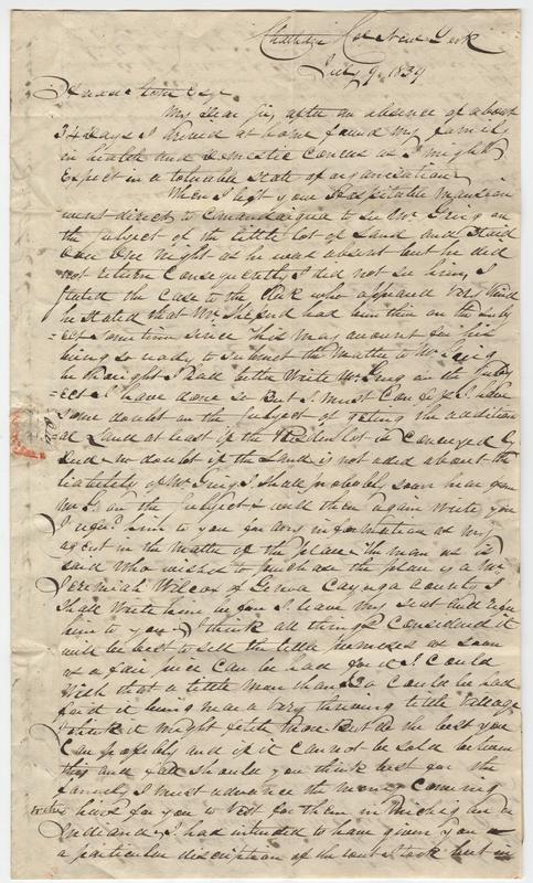 VanValkinbrugh, John? Letter to Horace Stone.