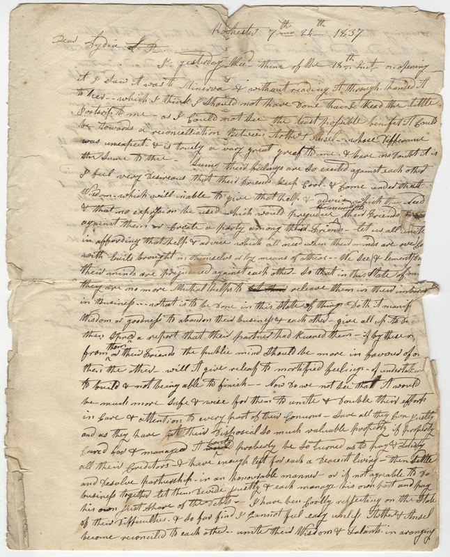 Unknown writer. Letter to Lydia Rushmore.