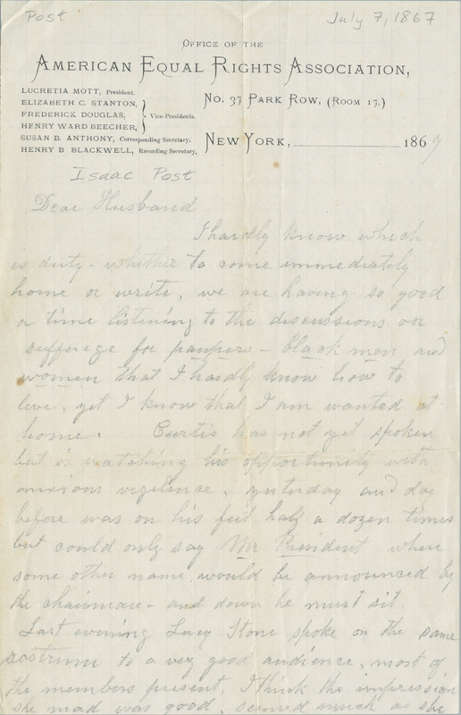 Letter from Amy Post to Isaac Post, July 1867