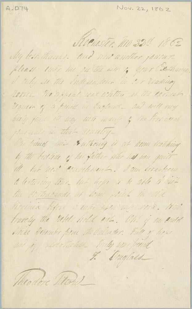 Letter from Frederick Douglass to Theodore Tilton, November 22, 1862<br />