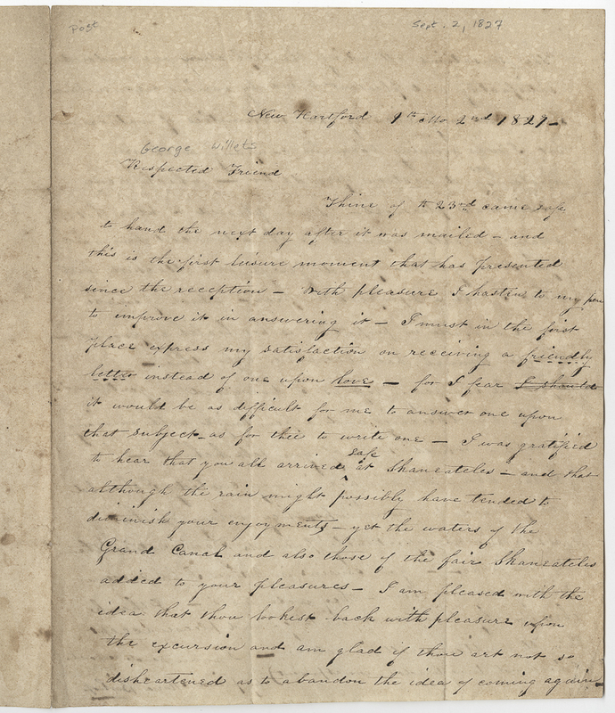 Bishop, Maria. Letter to Willets George.