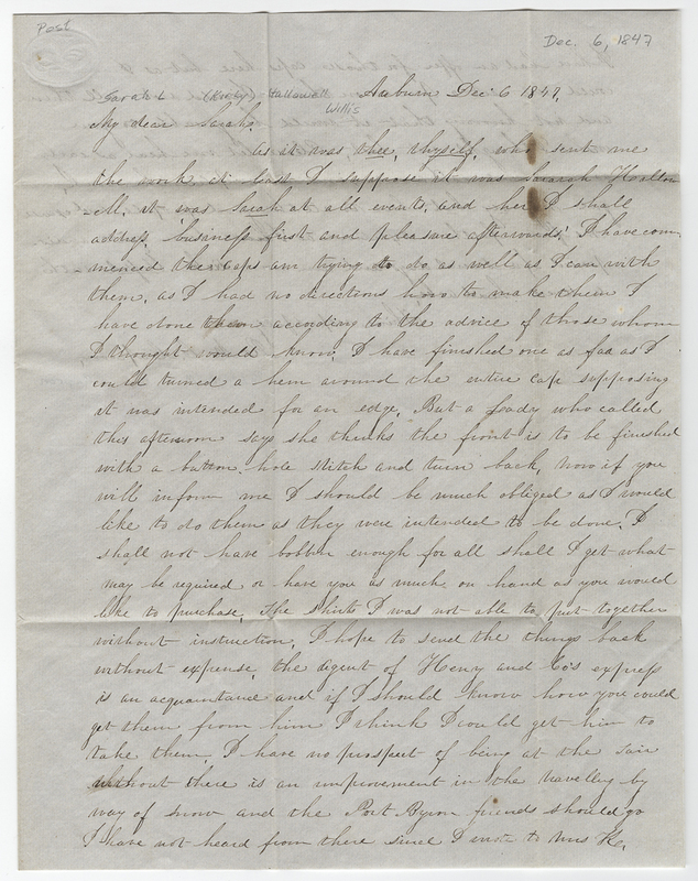 Capron, Rebecca M C. Letter to Sarah L Kirby Hallowell Willis.