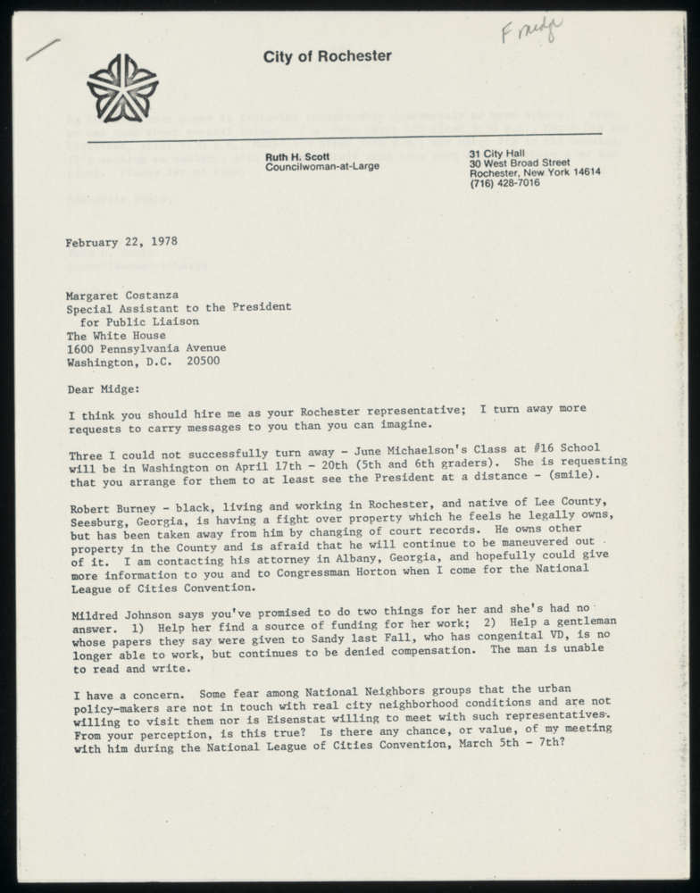 Letter from Ruth Scott to Midge Costanza, 1978-02-22