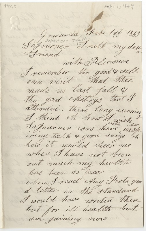 Allen, Lydia. Letter to Sojourner Truth.