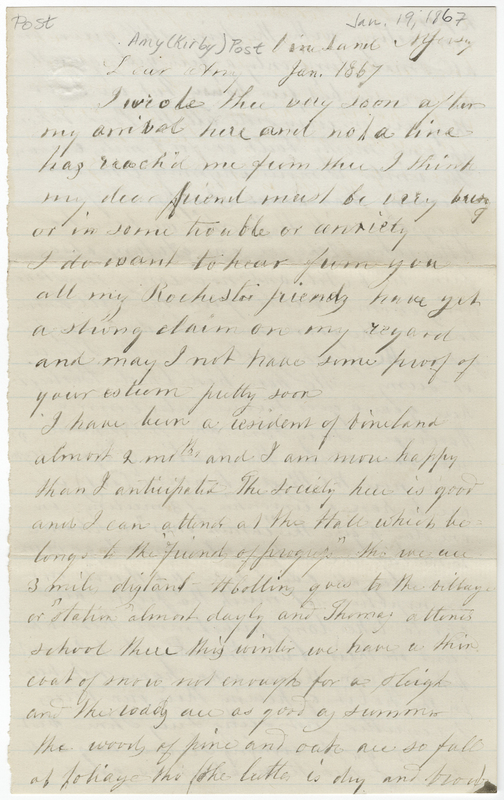 Collins, Henry. Letter to Amy Kirby Post.