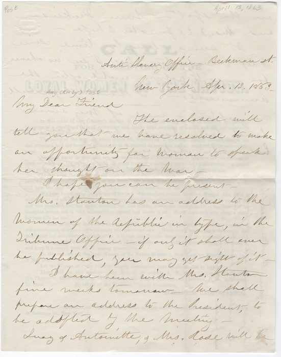 Letter from Susan B. Anthony to Amy Kirby Post (April 13, 1863)