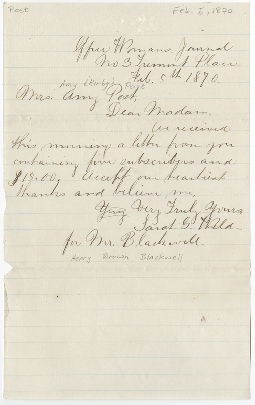 Blackwell, Henry Brown. Letter to Amy Kirby Post.