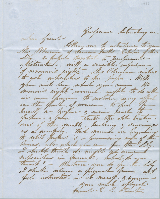 Letter from Elizabeth Cady Stanton to Amy Post.