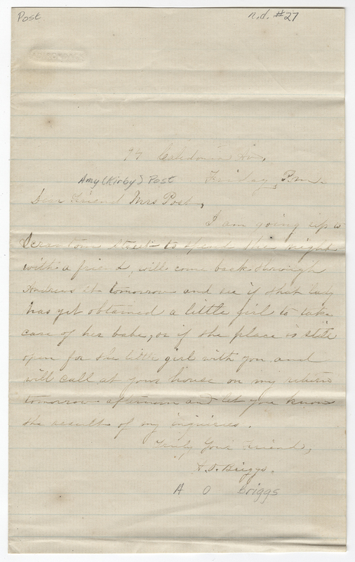 Briggs, A O. Letter to Amy Kirby Post.
