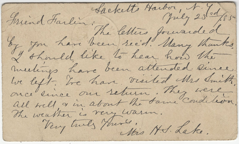 Lake, H.S. Letter to C. Fred Farlin.