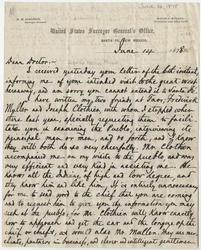 Miller, David J. Letter to Lewis Henry Morgan (1878-06-14)