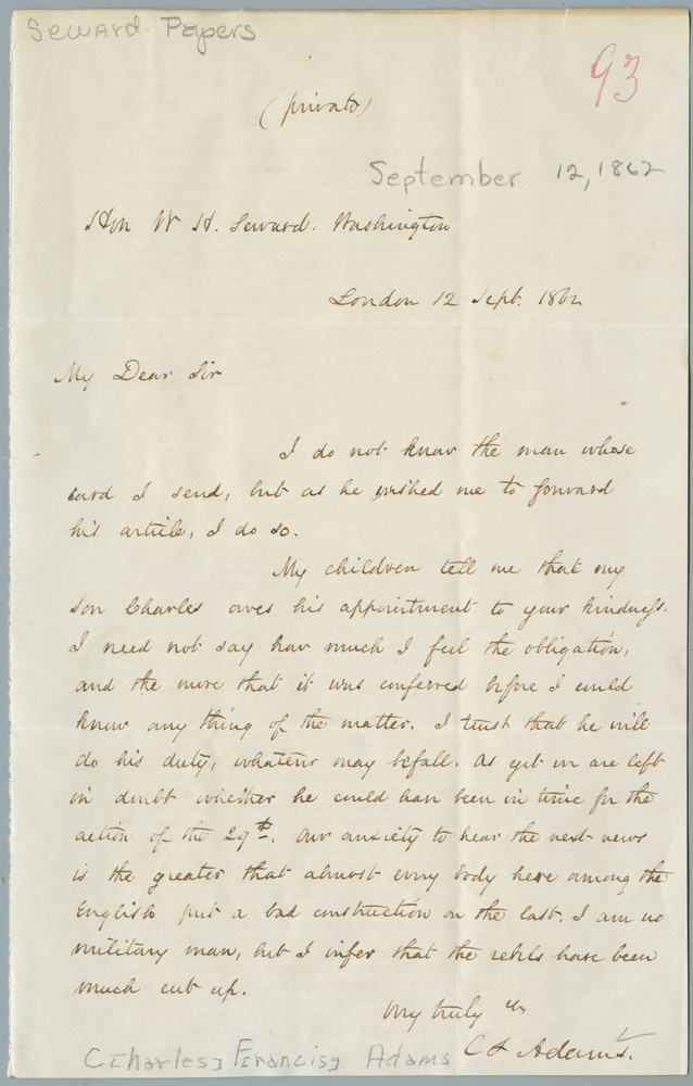 Letter from Charles Francis Adams to William Henry Seward, September 12, 1862