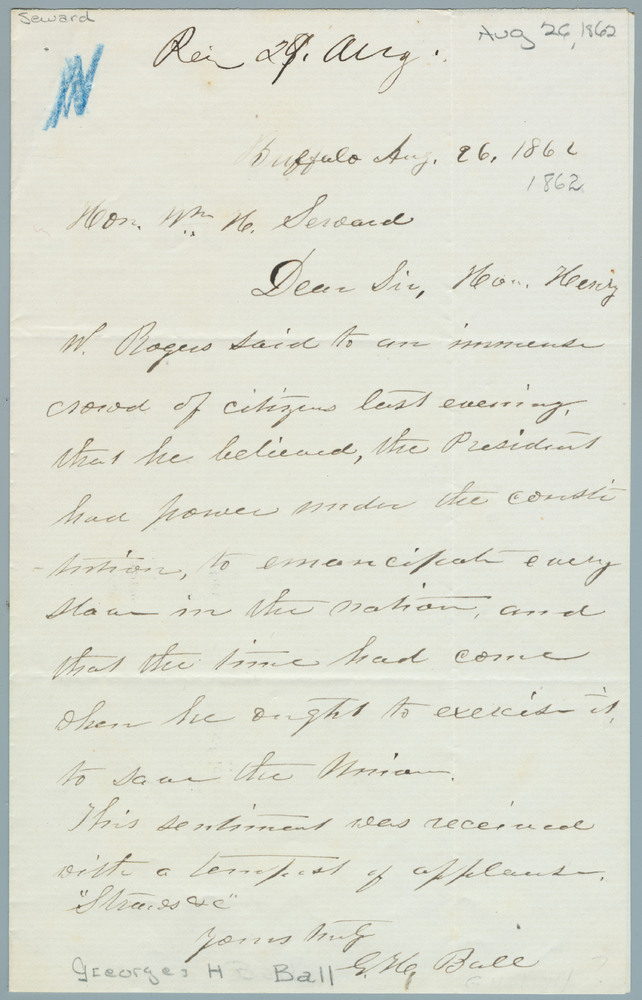 Letter from George H. Ball to William Henry Seward, August 26, 1862