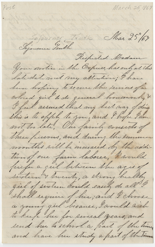 McVean, H. F. Letter to Sojourner Truth.