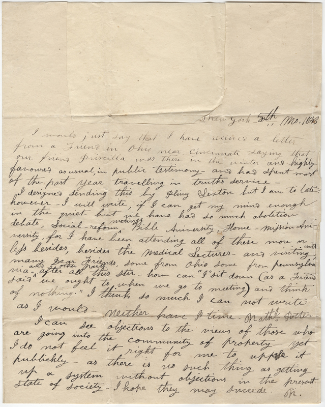 ON? Letter to Isaac Post.