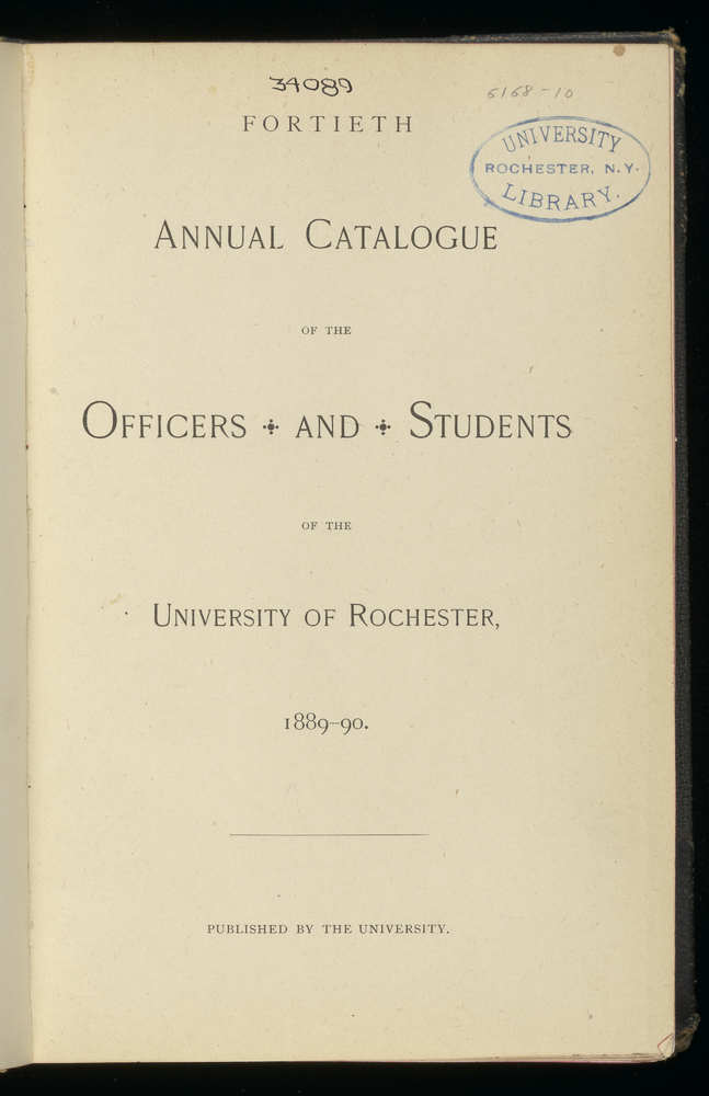 Annual Catalogue of University of Rochester, 1894-95