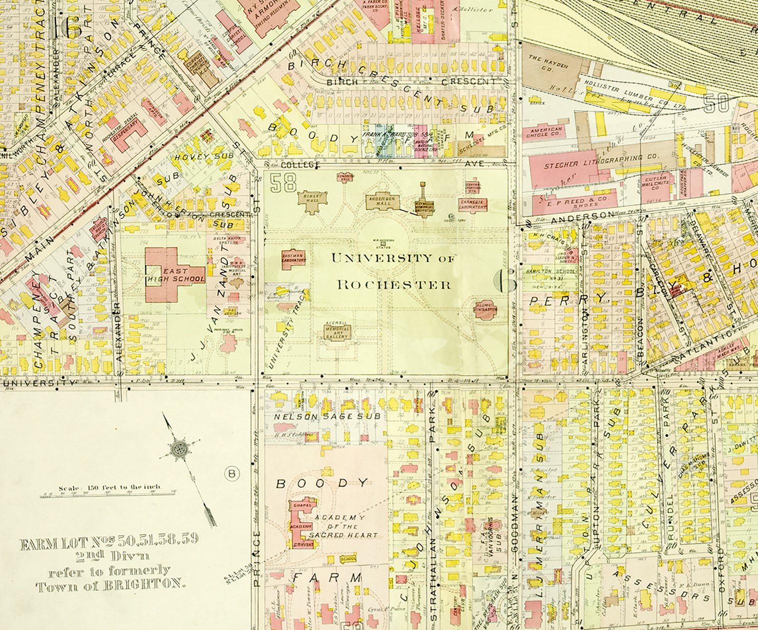 city map of rochester 1918