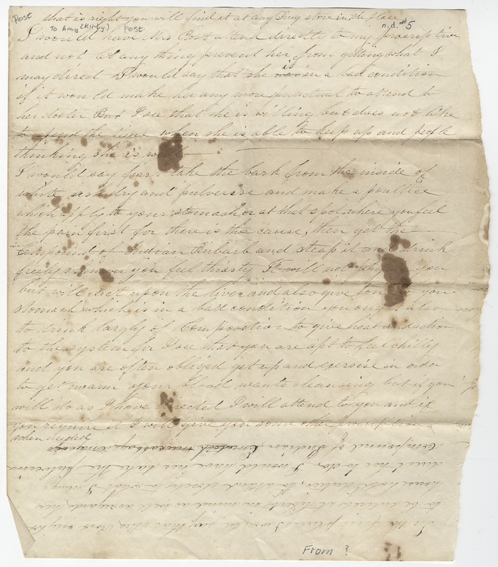 Unknown writer. Letter to Amy Kirby Post.