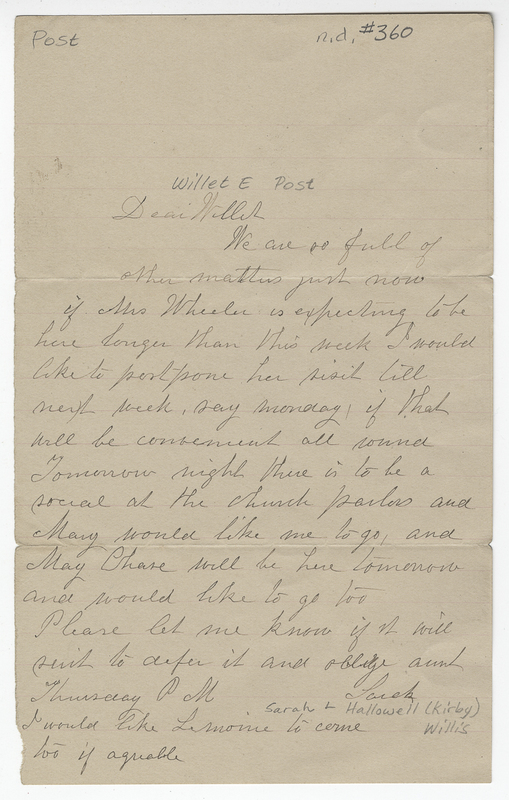 Willis, Sarah L Kirby Hallowell. Letter to Willet E Post.