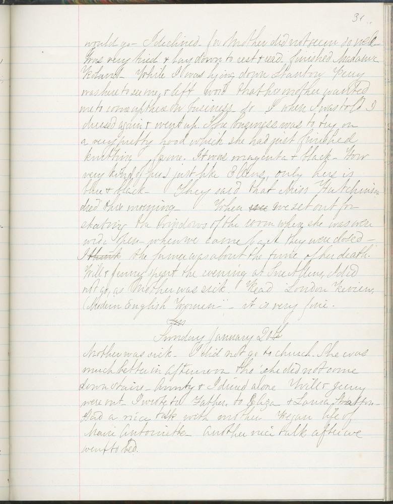 Diary entry from Fanny Seward, January 20, 1861