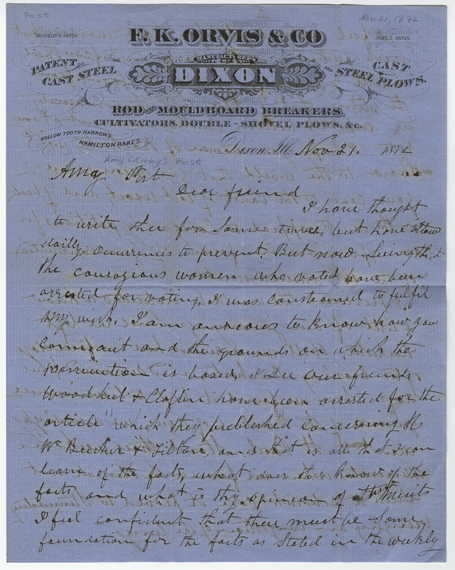 Orvis, Franklin K. Letter to Amy Kirby Post.