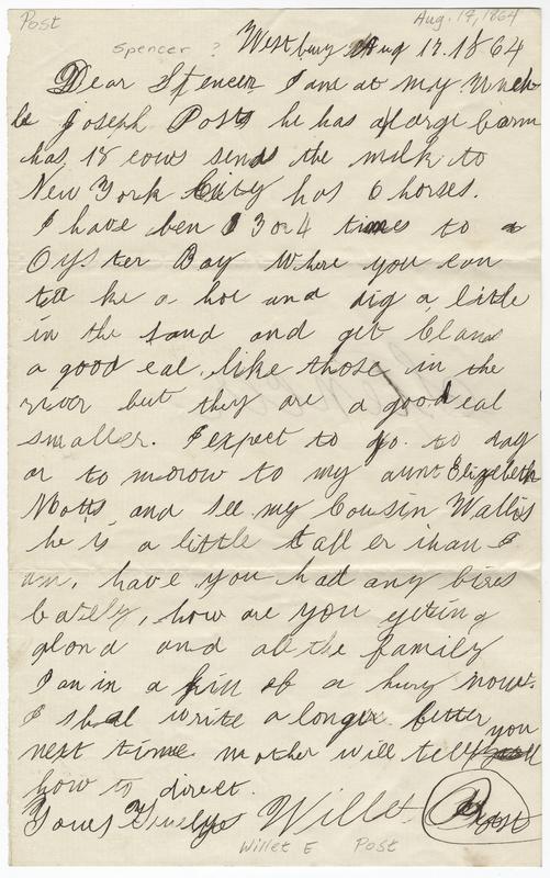 Post, Willet E. Letter to Spencer ?.