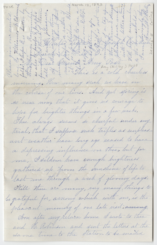 Collins, Dennis E. Letter to Amy Kirby Post.