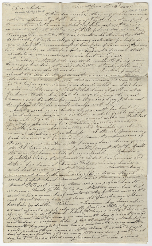 Willis, Phebe Post. Letter to Hannah Kirby Post.