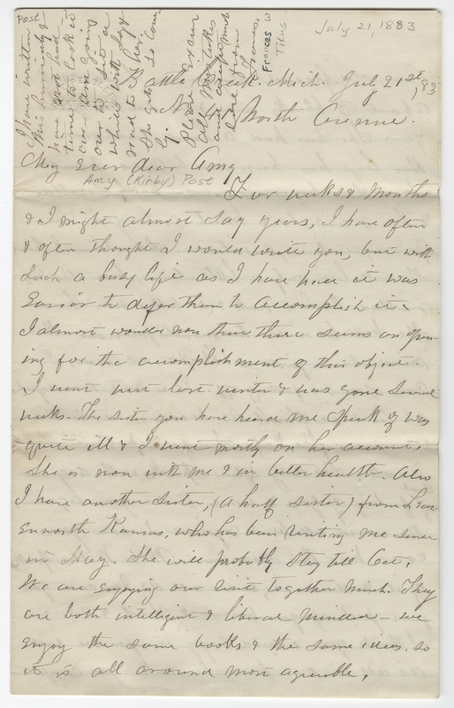 Titus, Frances W. Letter to Amy Kirby Post.