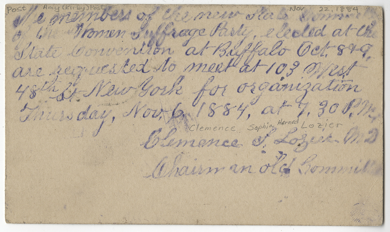 Lozier, Clemence Sophia Harned. Letter to Amy Kirby Post.