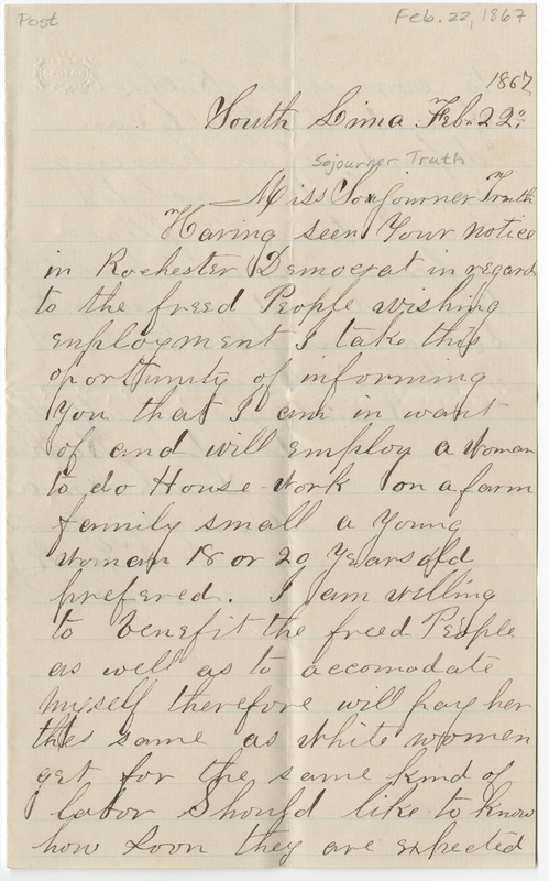 Backus, Theodore. Letter to Sojourner Truth.
