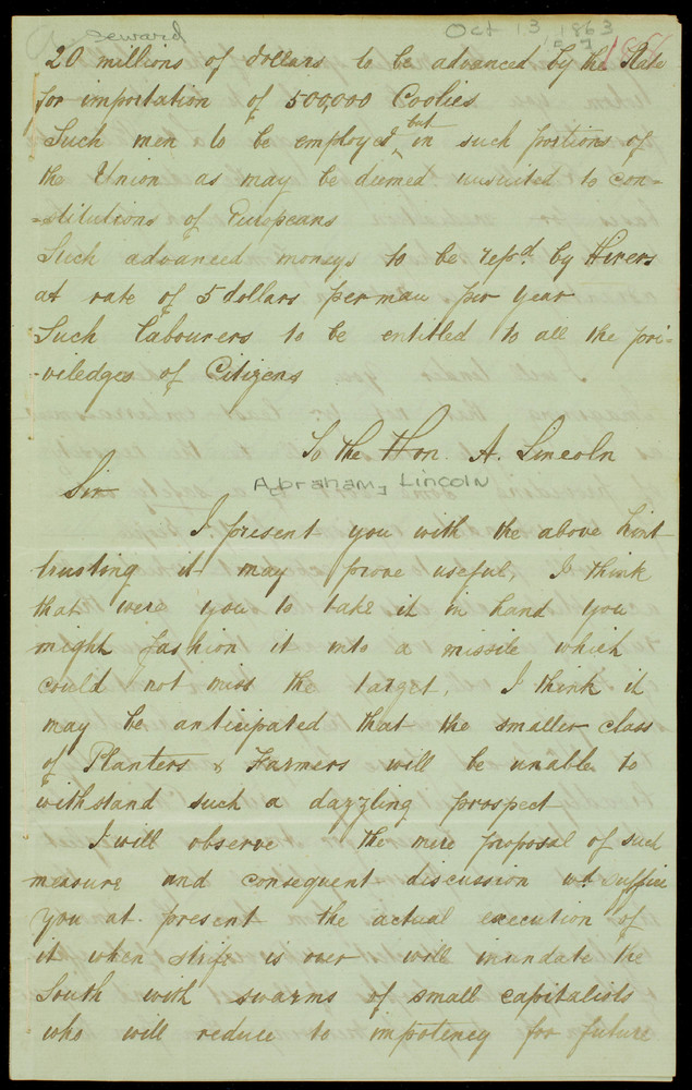 Letter from A. Dixon to William Henry Seward, October 13, 1863