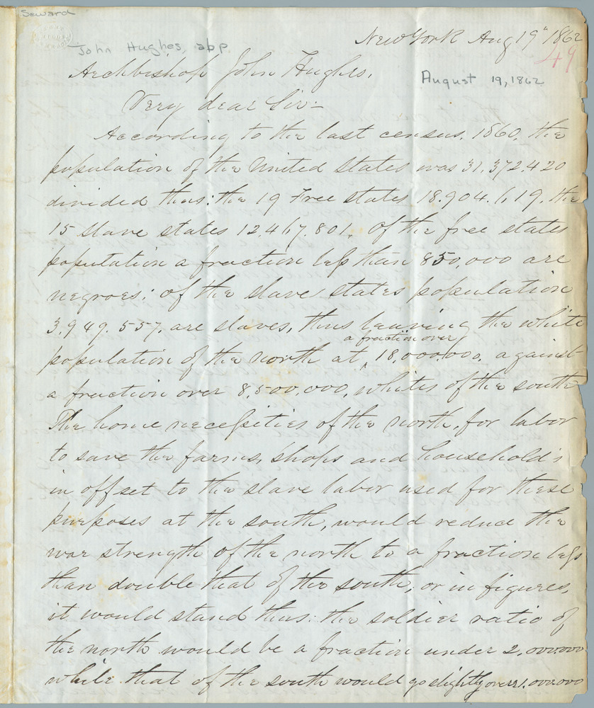 Letter from Henry Bragg Morse to Archbishop John Hughes, August 19, 1862