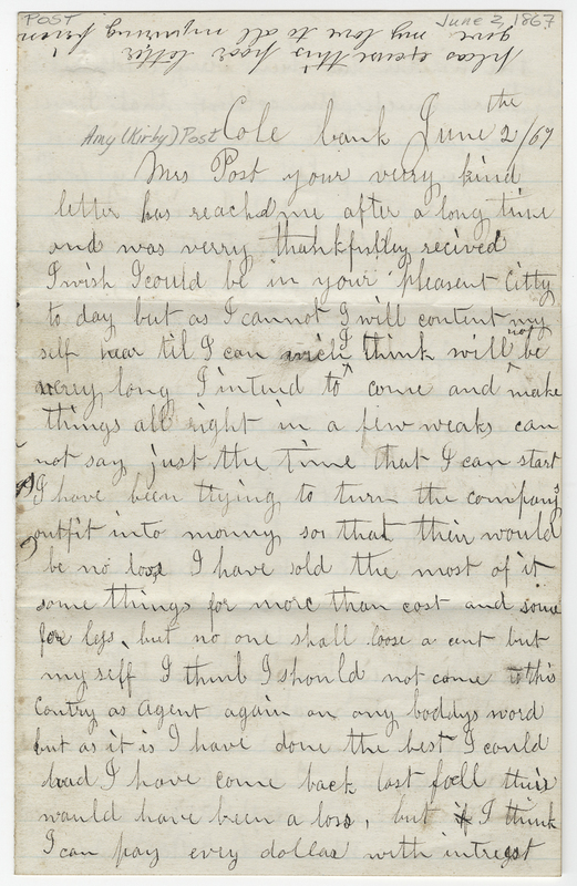 Austin, C W. Letter to Amy Kirby Post.