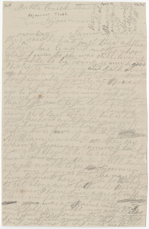 Merritt, Phebe. Letter to Sojourner Truth.
