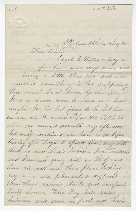 Willis, Sarah L Kirby Hallowell,. Letter to Amy Kirby Post.