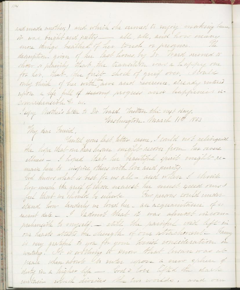 Diary entry from Fanny Seward, March 11, 1863