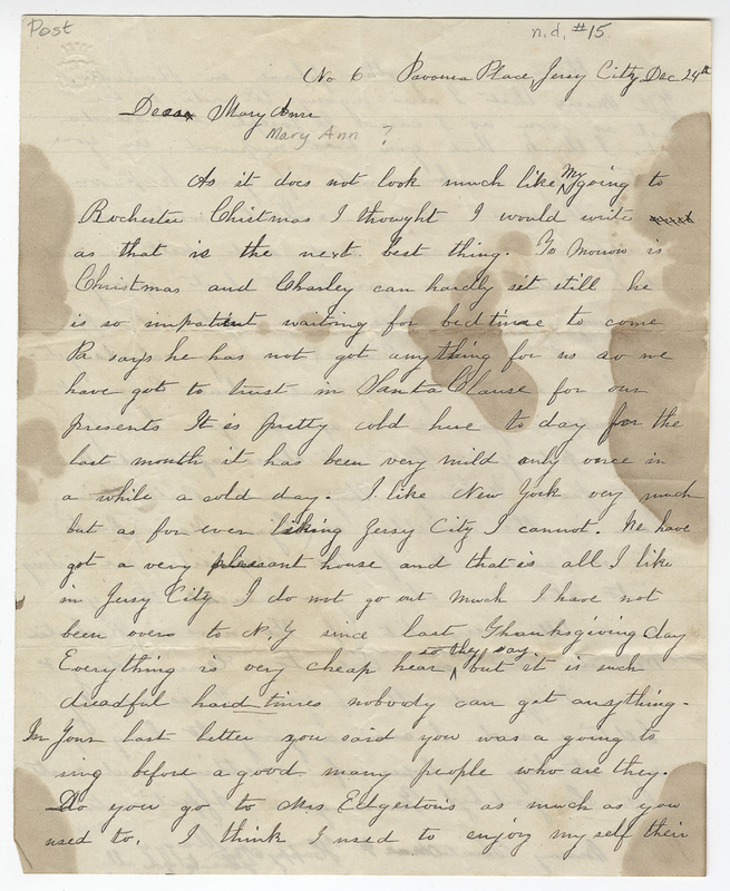 _____, Maggy. Letter to Mary Ann ___.