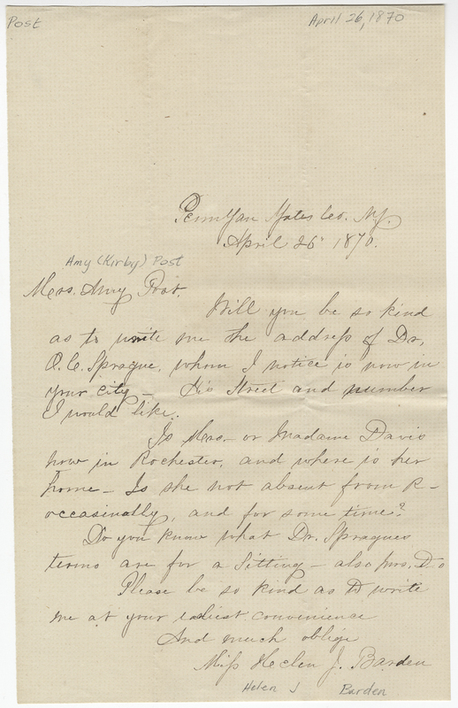 Barden, Helen J. Letter to Amy Kirby Post.