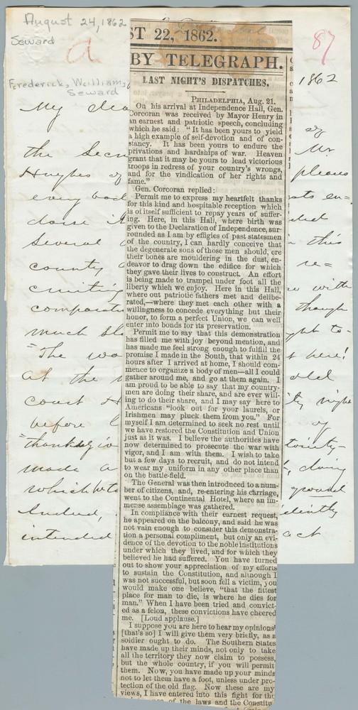 Letter from Erastus D. Webster to Frederick William Seward, August 24, 1862