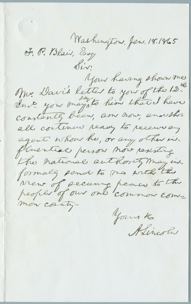 Letter from Abraham Lincoln to Francis P. Blair, January 18, 1865