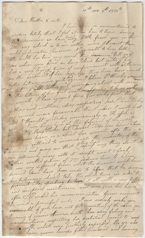 Rushmore, Lydia. Letter to Isaac and Hannah Post.