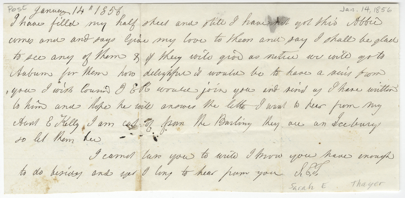 Thayer, Sarah E. Letter to Isaac Post.