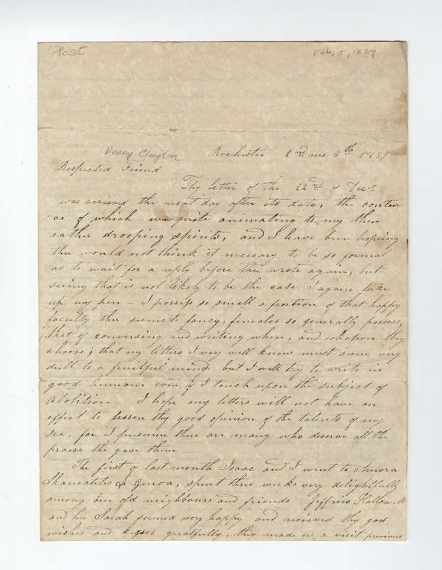 Post, Amy Kirby. Letter to Henry Clayton.
