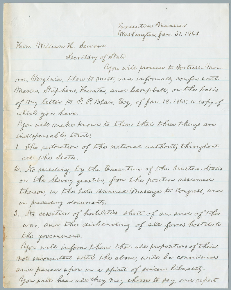 Letter from Abraham Lincoln to William Henry Seward, January 31, 1865